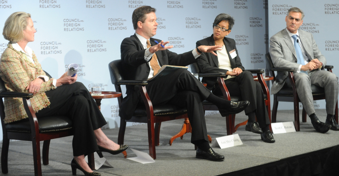 Alex Counts makes a point while (from left) Isobel Coleman of the Council for Foreign Relations, Ann Mei Chang of the U.S. State Department and Scott Ratzan of Johnson & Johnson listen.