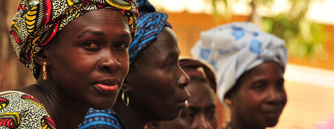Women gather for a group savings meeting in Senegal
