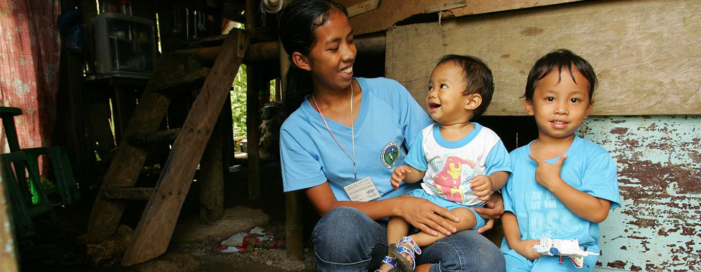 Philippine mother and child share a moment